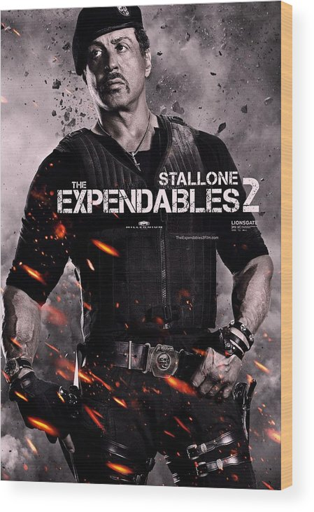 The Expendables 2 Wood Print featuring the photograph The Expendables 2 Stallone by Movie Poster Prints