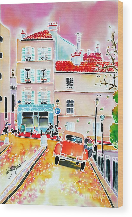 Paris Wood Print featuring the painting Twilight Montmartre by Hisayo Ohta