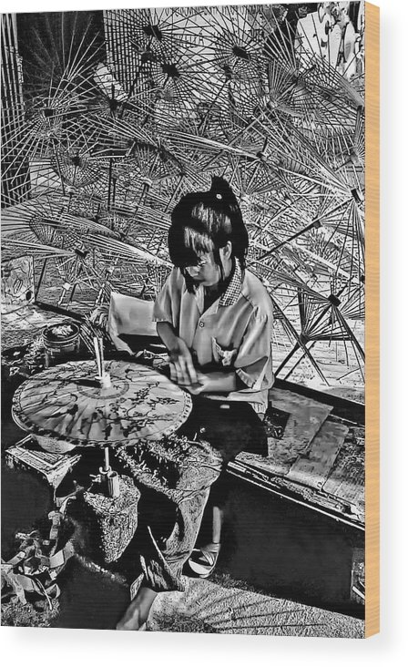 Thailand Wood Print featuring the photograph Umbrella Maker Bw by Steve Harrington