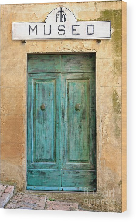 Kate Mckenna Wood Print featuring the photograph Weathed Museo Door by Kate McKenna