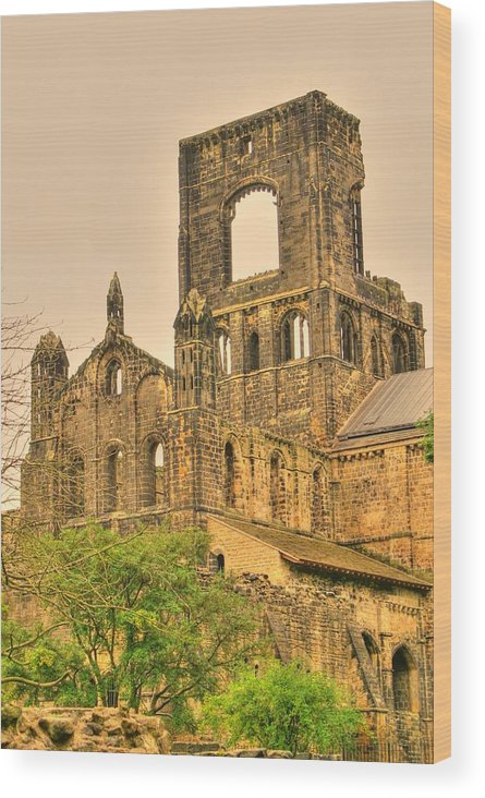Kirkstall Wood Print featuring the photograph Kirkstall Abbey by Jacqui Kilcoyne