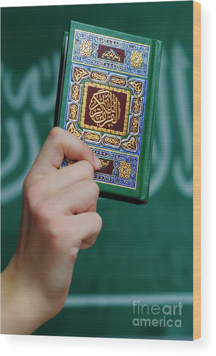 People Wood Print featuring the photograph Boy's Hand Holding Koran by Sami Sarkis