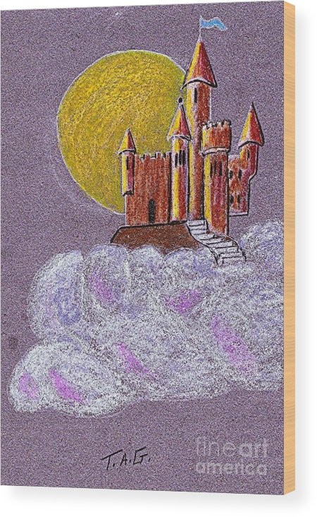 Castle Wood Print featuring the pastel Castle Moon by Jessi and James Gault