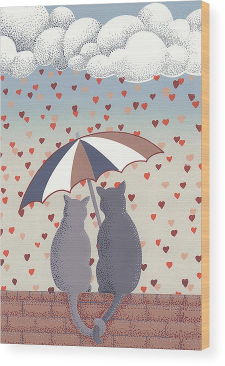 Cats Serigraph Wood Print featuring the relief Cats In Love by Anne Gifford