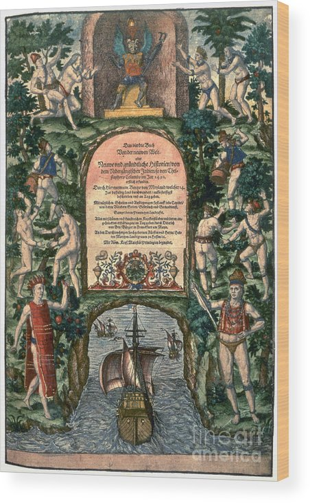 16th Century Wood Print featuring the photograph De Bry: Frontispiece by Granger