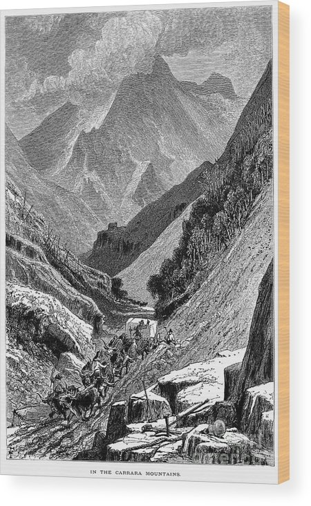 1875 Wood Print featuring the photograph Italy: Carrara Mountains by Granger