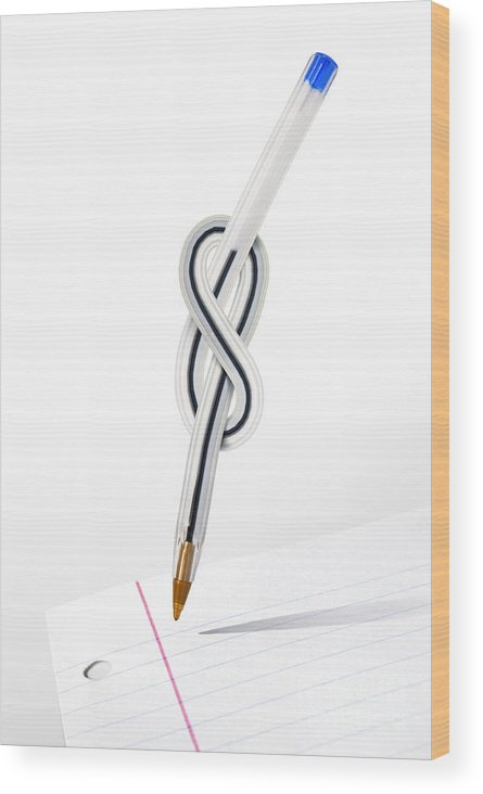 Abstract Wood Print featuring the photograph Knot Pen by Carlos Caetano