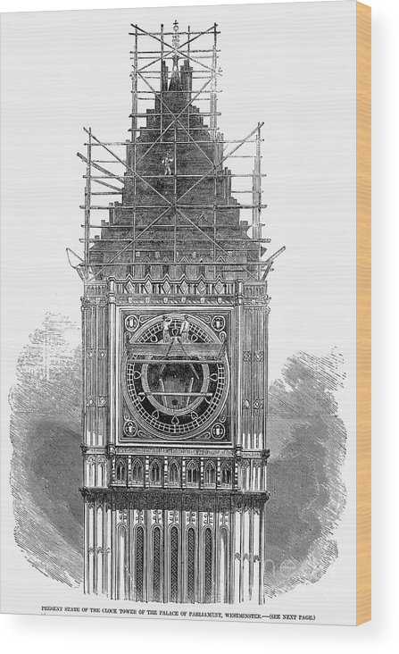 1856 Wood Print featuring the photograph London: Clock Tower, 1856 by Granger