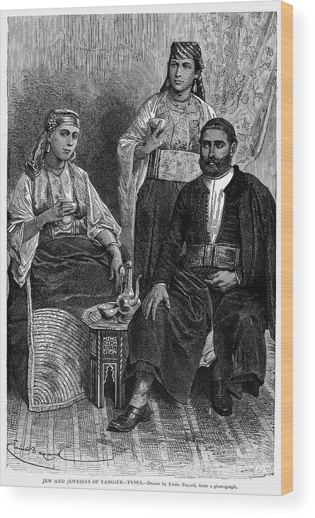 1892 Wood Print featuring the photograph Moroccan Jews, C1892 by Granger