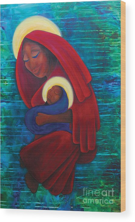 Virgin Mary Wood Print featuring the painting Mother And Child by Natasha Monnereau