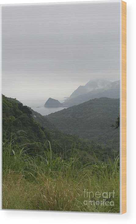 Mountains Wood Print featuring the digital art Mountains In Fog by Maxine Bochnia