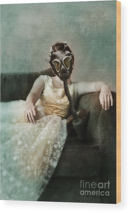 Lady Wood Print featuring the photograph Princess In Gas Mask 2 by Jill Battaglia