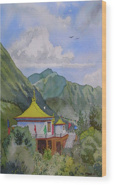 Buddhist Temple Wood Print featuring the painting South From My Window by Mayank M M Reid