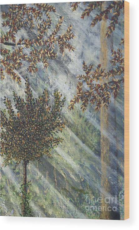Forest Wood Print featuring the painting Spiritual Light by William Ohanlan