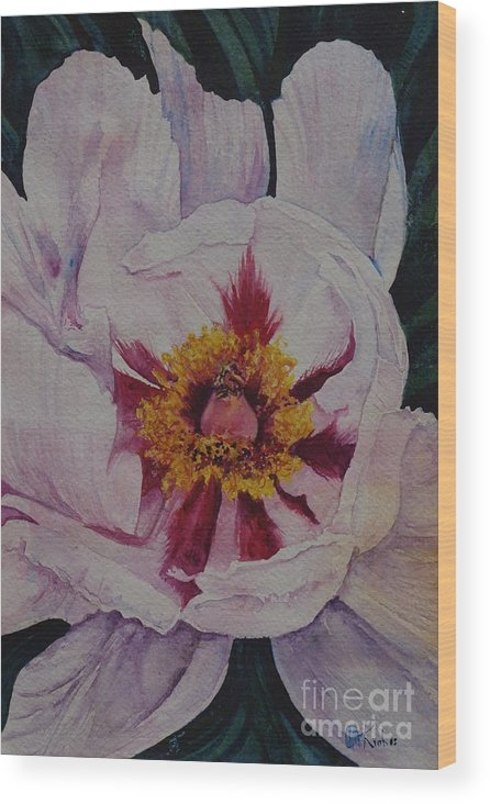 Flower Wood Print featuring the painting Thinking Of Georgia by Christine Keech