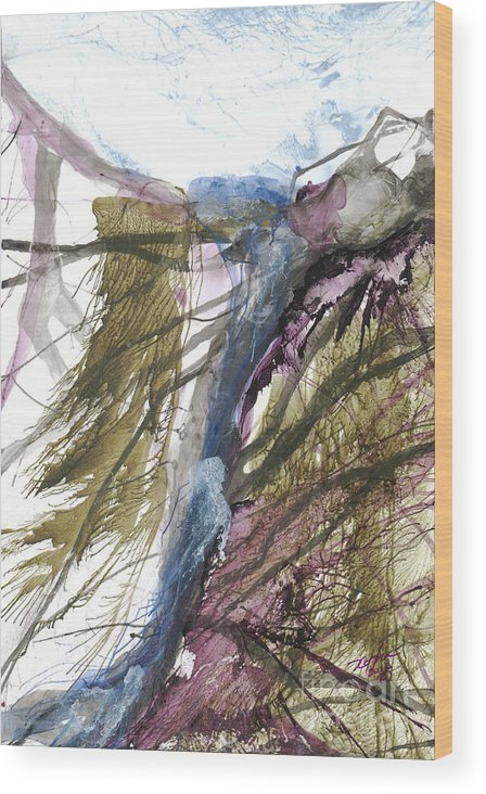 Abstract Wood Print featuring the painting Tinos Revisited 11 by David W Coffin