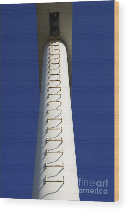 Built Structure Wood Print featuring the photograph White Pylon With Ladder by Sami Sarkis