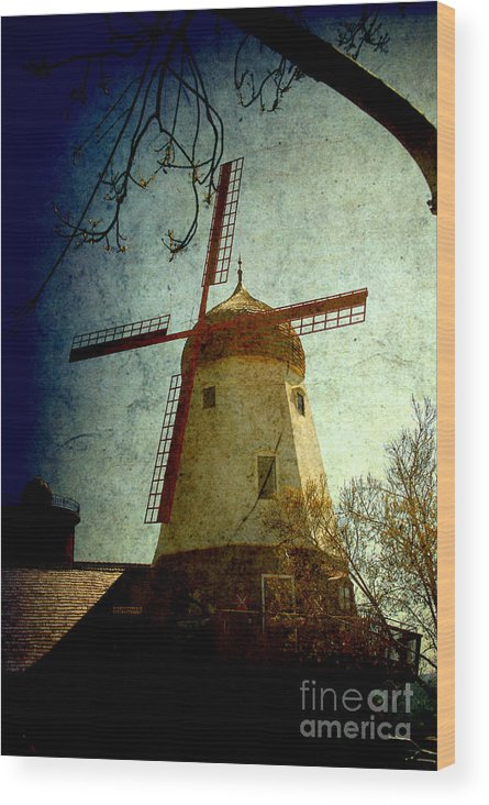 Windmill Wood Print featuring the photograph Windmill In Solvang California by Susanne Van Hulst