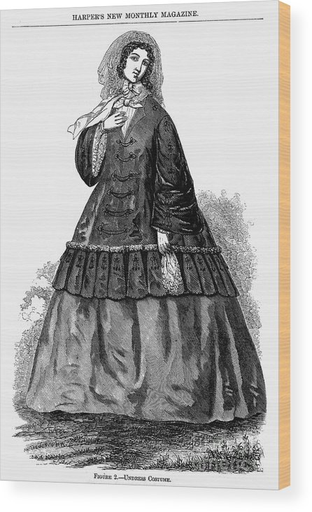 1850s Wood Print featuring the photograph Womens Fashion, C1850s by Granger