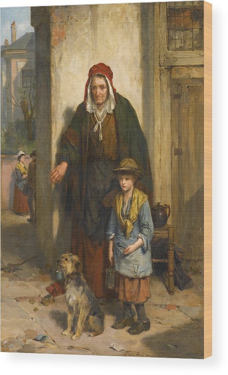 Thomas Faed Wood Print featuring the painting A Poor Beggar Bodie by Thomas Faed