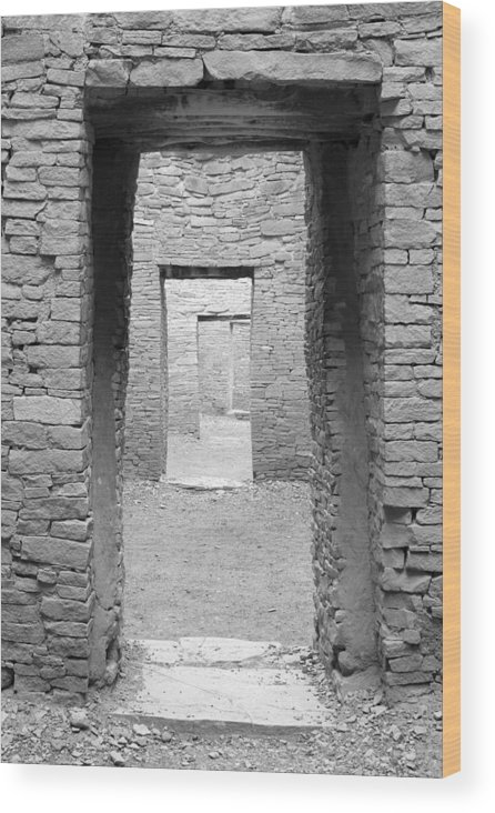 Pueblo Bonito Wood Print featuring the photograph Chaco Canyon Doorways 3 by Carl Amoth