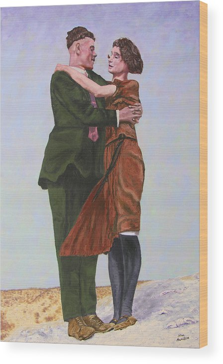 Double Portrait Wood Print featuring the painting Ray And Isabel by Stan Hamilton