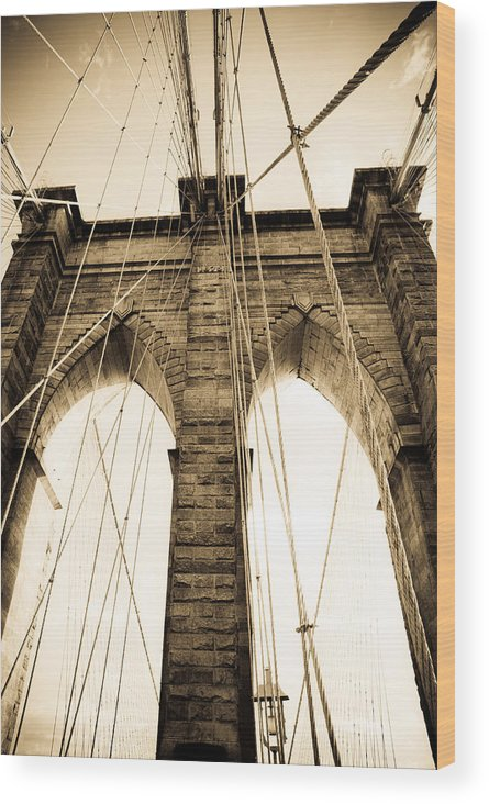 Bridge Wood Print featuring the photograph Brooklyn Bridge by Patrick Flynn