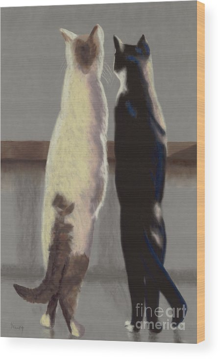 Cat Wood Print featuring the painting A Bird by Linda Hiller