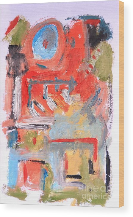 Abstract Wood Print featuring the painting Abstract 7204 by Michael Henderson