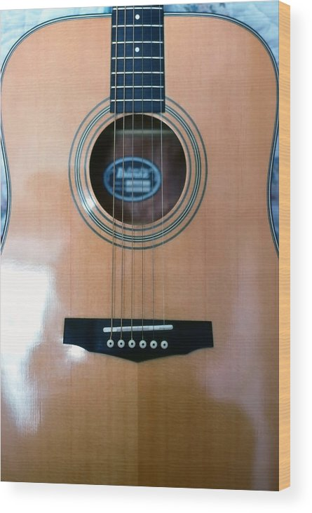 Guitar; Acoustic; Strings; Frets; Neck; Wood; Polished; Musical Instrument; String Instrument; Music Wood Print featuring the photograph Acoustic Guitar - Front by Steve Ohlsen