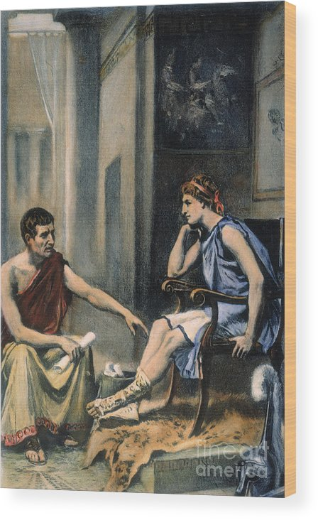 4th Century B.c. Wood Print featuring the photograph Alexander & Aristotle by Granger