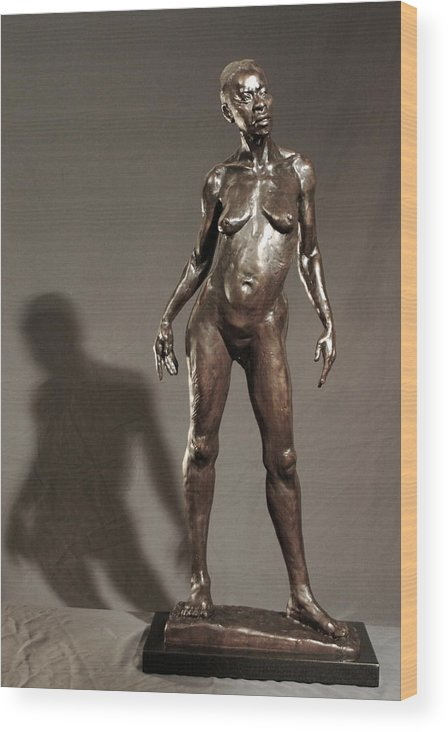 Bronze Sculpture Wood Print featuring the sculpture Amazing Grace by Dan Earle