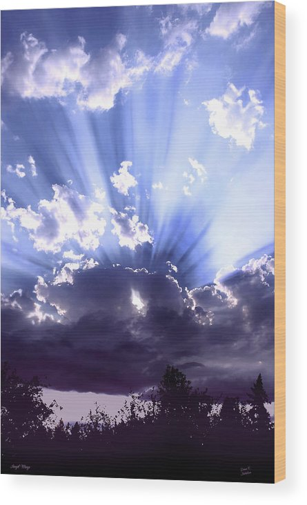 Clouds Wood Print featuring the mixed media Angel Wings by Diane C Nicholson