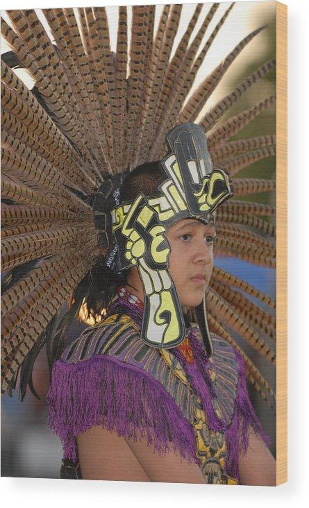 Dancer Wood Print featuring the photograph Aztec Dancer by Dennis Hammer