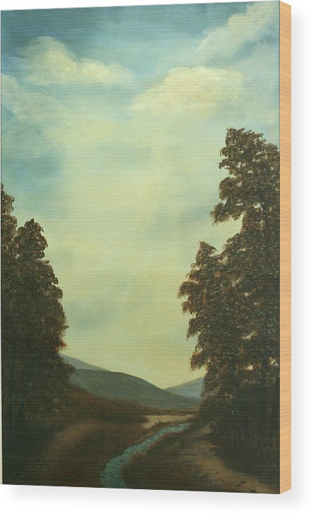 Original Pastoral Landscape Acrylic Large Constable Like Wood Print featuring the painting Back In Time by Sharon Steinhaus