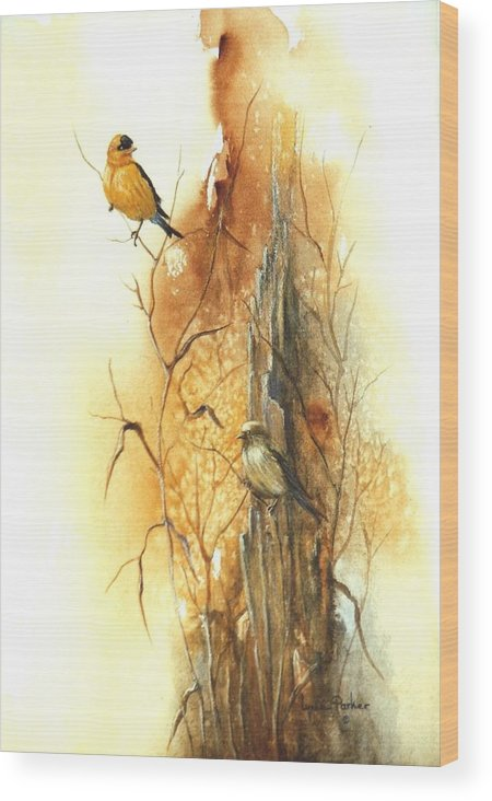 American Goldfinch Wood Print featuring the painting Backyard American Goldfinch by Lynne Parker