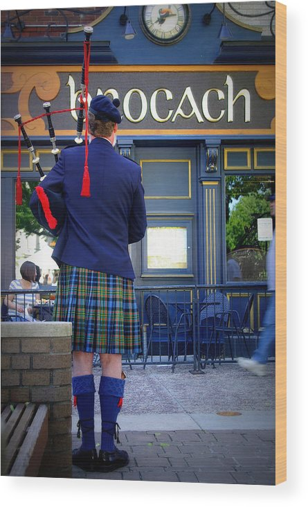Irish Wood Print featuring the photograph Bagpipes by Linda Mishler