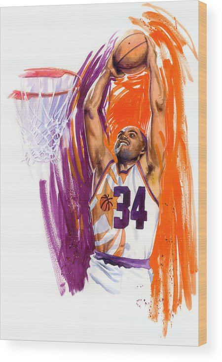 Charles Barkley Wood Print featuring the painting Barkley by Ken Meyer