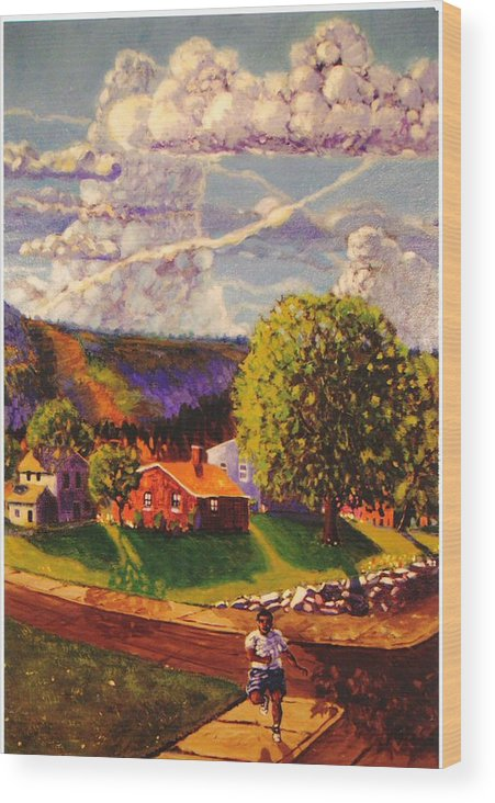 Landscape Wood Print featuring the painting Beautiful Day by Jonathan Carter
