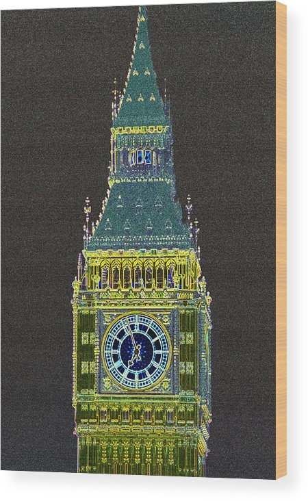 Big Ben Wood Print featuring the photograph Big Ben Glowing by Charles Ridgway