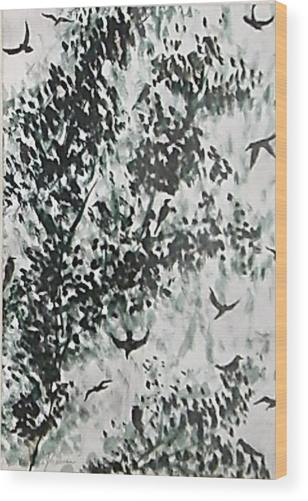 Birds Wood Print featuring the painting Birds At Sundown II by Caroline Urbania Naeem