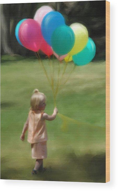Birthday Wood Print featuring the digital art Birthday Balloons by Lisa Westrope