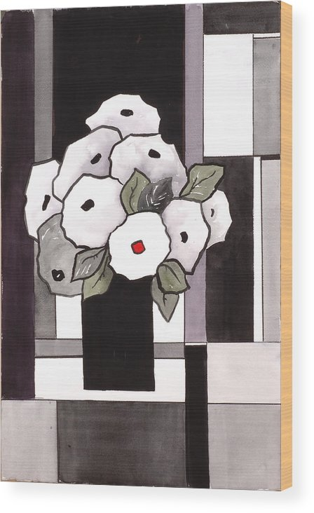 Painting Wood Print featuring the painting Black And White Funny Flowers by Carrie Allbritton