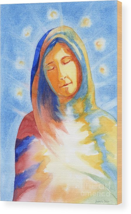 Divine Wood Print featuring the mixed media Blessed Mother by Juanita Yoder