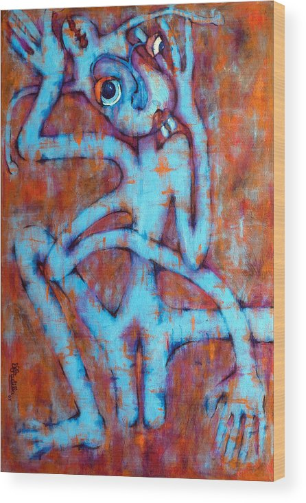 Blue Wood Print featuring the painting Blue Instinct by Claudia Padilla