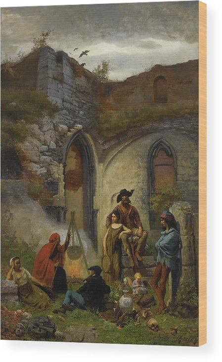 Jules Breton  Camp Gypsies In The Ruins Of The Abbey Of St Bavon (gent) Wood Print featuring the painting Camp Gypsies In The Ruins Of The Abbey by MotionAge Designs