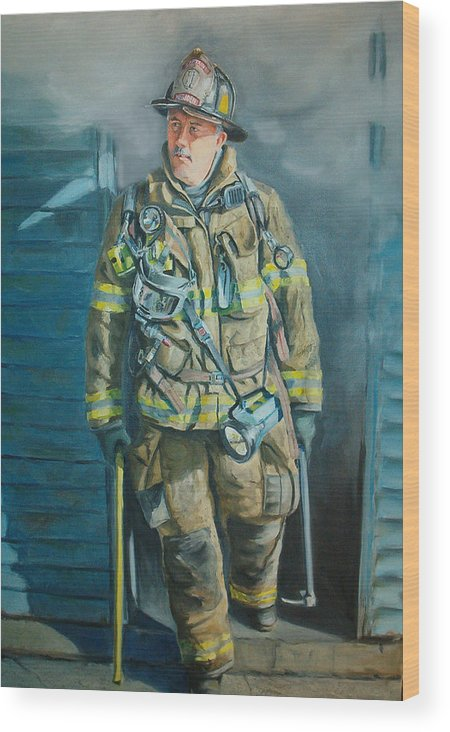 Firefighter Wood Print featuring the painting Captain Harris by Paul Walsh