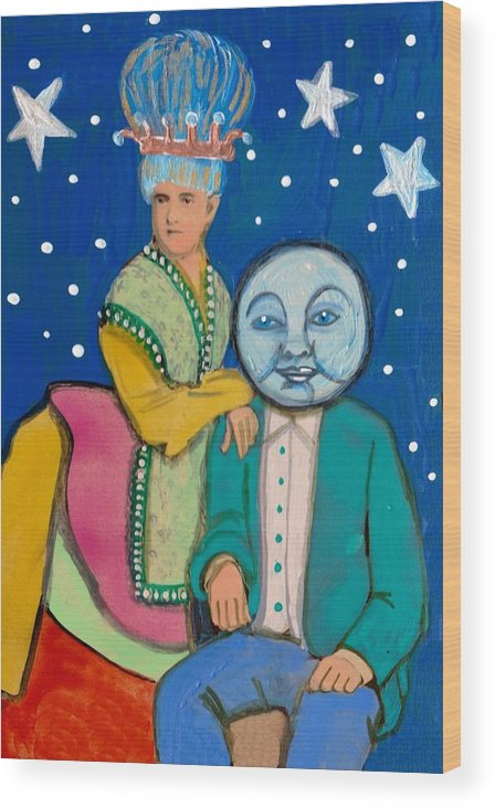 Moon Wood Print featuring the painting Celestial Couple by JoLynn Potocki