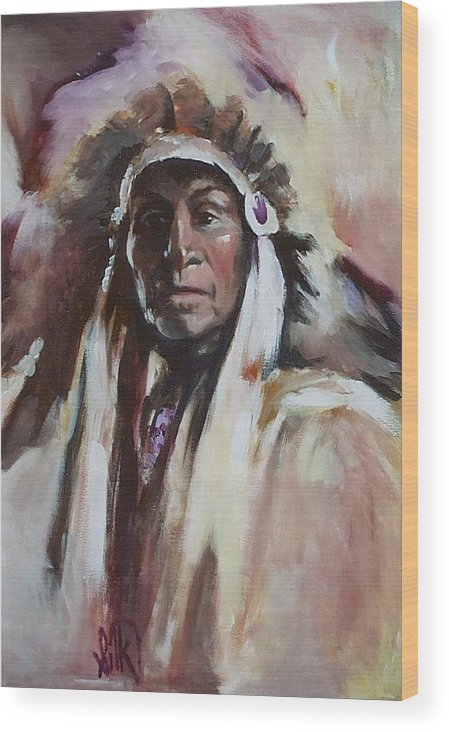 Native American Wood Print featuring the painting Chief 1 by Elizabeth Silk