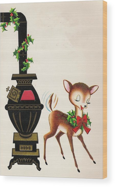 Reindeer Wood Print featuring the painting Christmas Illustration 1217 - Vintage Christmas Cards - Reindeer by TUSCAN Afternoon